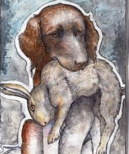 Guckt lieb, apportiert aber mühelos ein totes Kaninchen: Lilli, Kleine Münsterländerin, 52 cm Schulterhöhe, 22 Kilo.